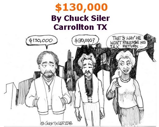 BlackCommentator.com February 01, 2018 - Issue 727: $130,000 - Political Cartoon By Chuck Siler, Carrollton TX