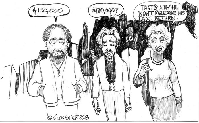 BlackCommentator.com February 01, 2018 - Issue 727: $130,000 - Political Cartoon By Chuck Siler, Carrollton TX