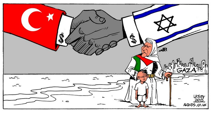 BlackCommentator.com February 01, 2018 - Issue 727: Turkey and Israel Discuss Price, Route of Gas Pipeline - Political Cartoon By Carlos Latuff, Rio de Janeiro Brazil