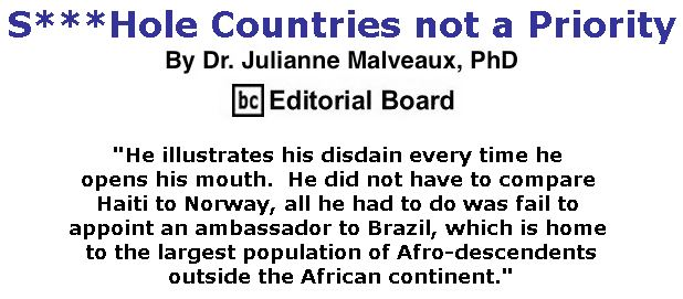 BlackCommentator.com February 01, 2018 - Issue 727: S***Hole Countries not a Priority By Dr. Julianne Malveaux, PhD, BC Editorial Board