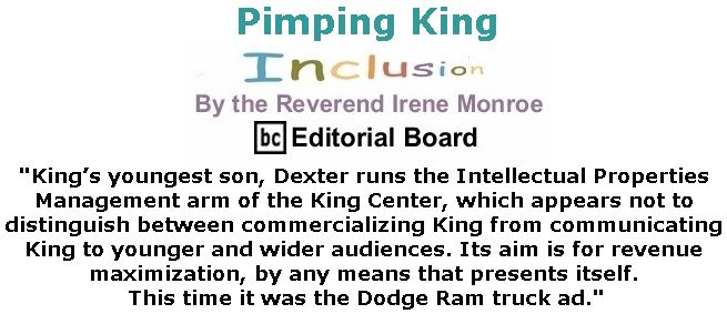BlackCommentator.com February 08, 2018 - Issue 728: Pimping King - Inclusion By The Reverend Irene Monroe, BC Editorial Board