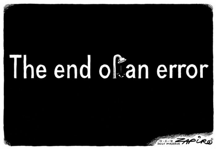 """BlackCommentator.com February 22, 2018 - Issue 730: Zuma: """"I Resign as President of South Africa."""" - Political Cartoon By Zapiro, South Africa"""