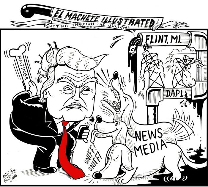 BlackCommentator.com March 01, 2018 - Issue 731: Media Magnet - Political Cartoon By Eric Garcia, Chicago IL