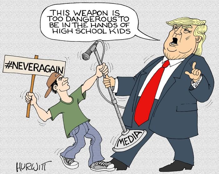BlackCommentator.com March 01, 2018 - Issue 731: #NeverAgain - Political Cartoon By Mark Hurwitt, Brooklyn NY