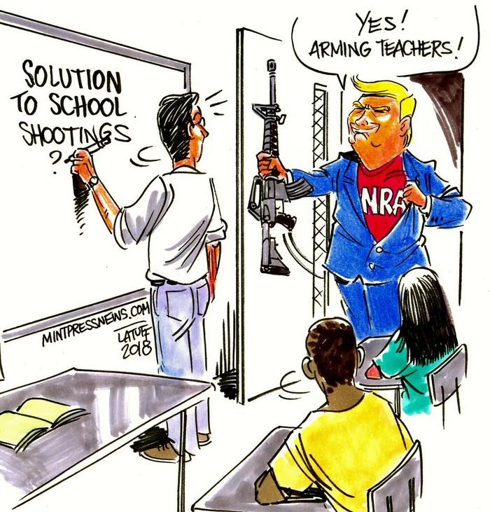 BlackCommentator.com March 01, 2018 - Issue 731: Arm Teachers - Political Cartoon By Carlos Latuff, Rio de Janeiro Brazil