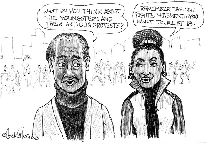 BlackCommentator.com March 01, 2018 - Issue 731: Young Protesters - Political Cartoon By Chuck Siler, Carrollton TX
