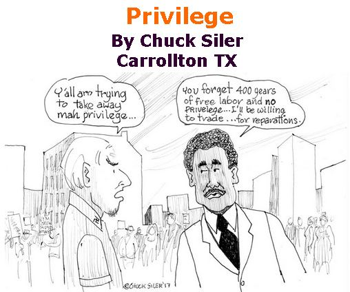 BlackCommentator.com March 29, 2018 - Issue 735: Privilege - Political Cartoon By Chuck Siler, Carrollton TX