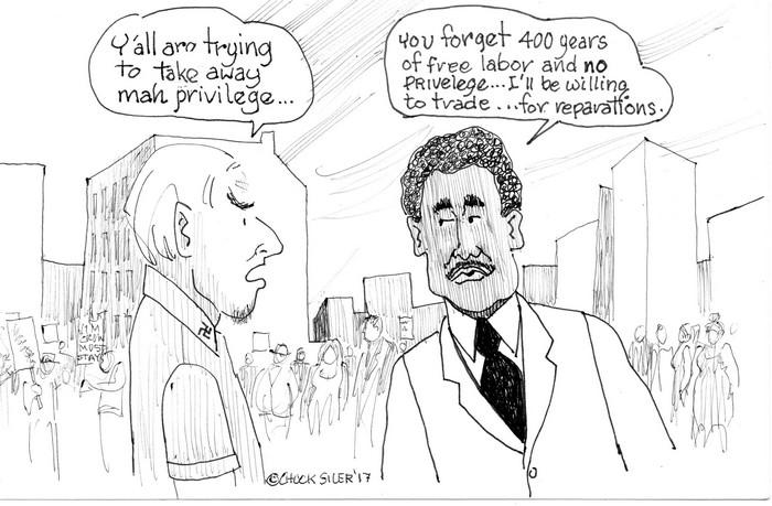 BlackCommentator.com March 29, 2018 - Issue 735: Privilege - Political Cartoon By Chuck Siler, Carrollton TX
