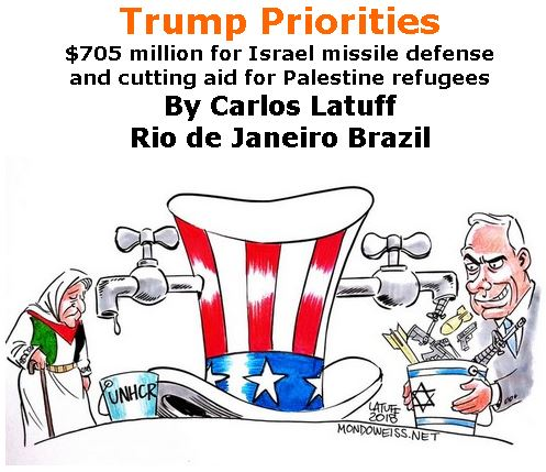 BlackCommentator.com April 05, 2018 - Issue 736: Trump Priorities - $705 million for Israel missile defense and cutting aid for Palestine refugees - Political Cartoon By Carlos Latuff, Rio de Janeiro Brazil