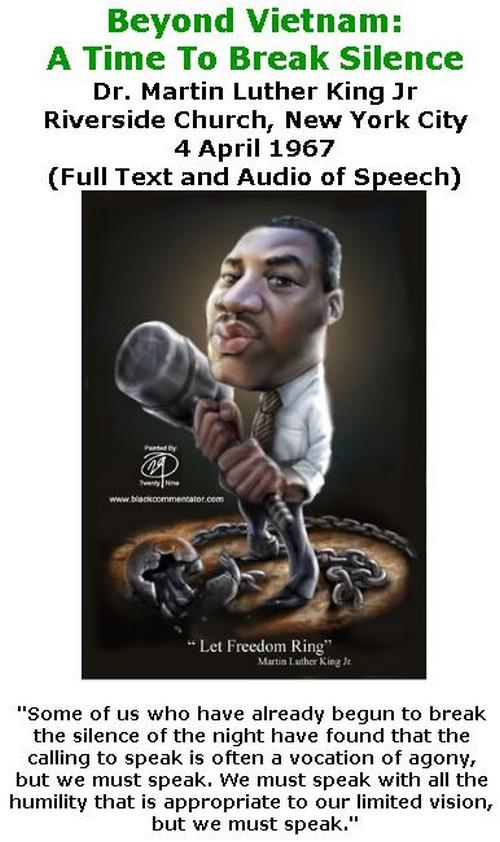 BlackCommentator.com April 05, 2018 - Issue 736: Beyond Vietnam: A Time To Break Silence - Dr. Martin Luther King Jr - Riverside Church, New York City - 4 April 1967 (Full Text of Speech)