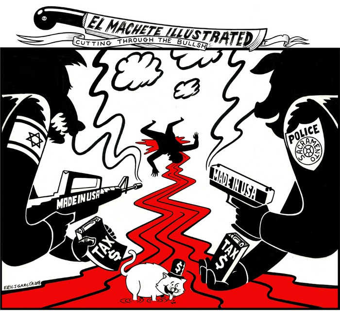 BlackCommentator.com April 12, 2018 - Issue 737: Palestine - Sacramento - Political Cartoon By Eric Garcia, Chicago IL