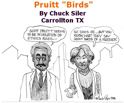 "BlackCommentator.com April 12, 2018 - Issue 737: Pruitt ""Birds"" - Political Cartoon By Chuck Siler, Carrollton TX"