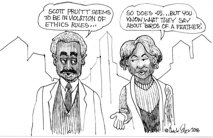 """BlackCommentator.com April 12, 2018 - Issue 737: Pruitt """"Birds"""" - Political Cartoon By Chuck Siler, Carrollton TX"""