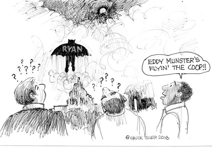 BlackCommentator.com April 19, 2018 - Issue 738: Paul Ryan - Political Cartoon By Chuck Siler, Carrollton TX