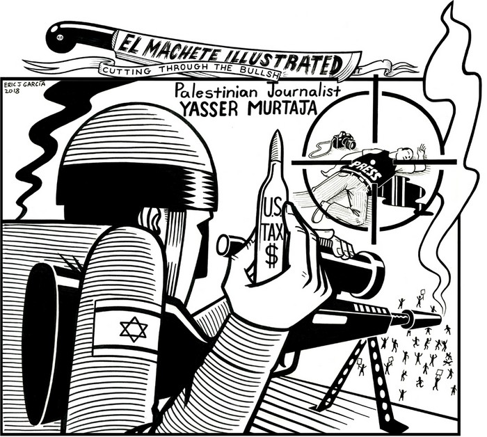 BlackCommentator.com April 19, 2018 - Issue 738: Yasser Murtaja - Political Cartoon By Eric Garcia, Chicago IL