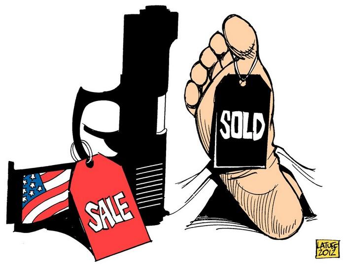 BlackCommentator.com April 26, 2018 - Issue 739: Columbine High School Massacre, 19 Years Later and Gun Sales Are Fine, Thanks! - Political Cartoon By Carlos Latuff, Rio de Janeiro Brazil