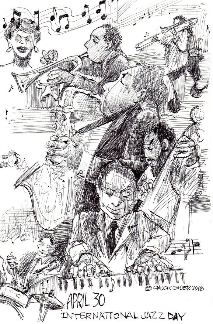BlackCommentator.com May 03, 2018 - Issue 740: International Jazz Day - Political Cartoon By Chuck Siler, Carrollton TX