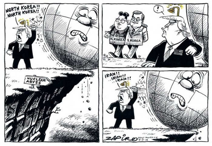 BlackCommentator.com May 17, 2018 - Issue 742: Nuclear Abyss - Political Cartoon By Zapiro, South Africa
