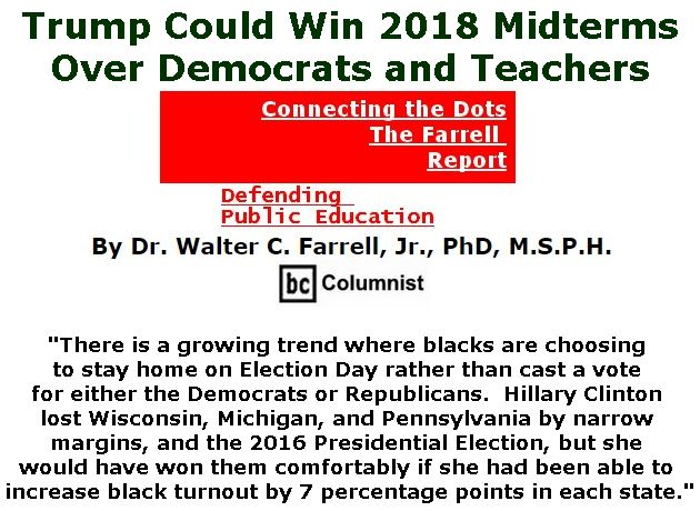 BlackCommentator.com May 17, 2018 - Issue 742: Trump Could Win 2018 Midterms Over Democrats and Teachers - Connecting the Dots - The Farrell Report - Defending Public Education By Dr. Walter C. Farrell, Jr., PhD, M.S.P.H., BC Columnist