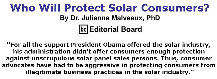 BlackCommentator.com May 24, 2018 - Issue 743: Who Will Protect Solar Consumers? By Dr. Julianne Malveaux, PhD, BC Editorial Board