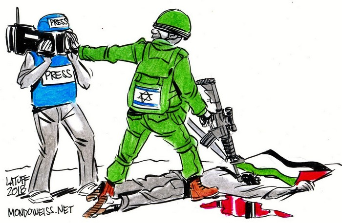 BlackCommentator.com May 31, 2018 - Issue 744: Israel May Ban Images of Slaughter of Palestinians - Political Cartoon By Carlos Latuff, Rio de Janeiro Brazil