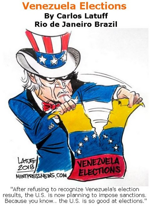BlackCommentator.com June 07, 2018 - Issue 745: Venezuela Elections - Political Cartoon By Carlos Latuff, Rio de Janeiro Brazil