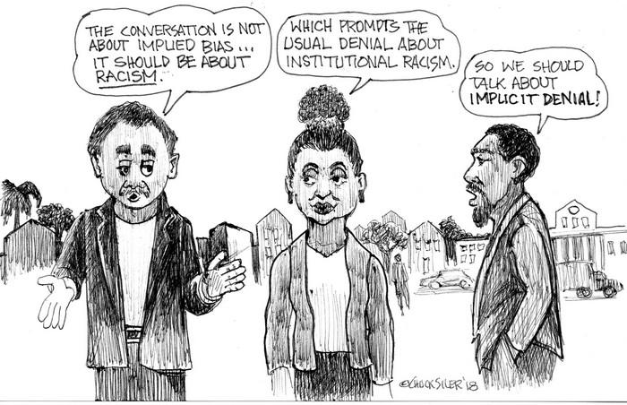 BlackCommentator.com June 14, 2018 - Issue 746: Implicit Denial - Political Cartoon By Chuck Siler, Carrollton TX