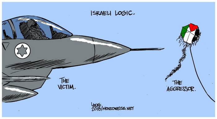 BlackCommentator.com June 14, 2018 - Issue 746: Israeli Logic - Political Cartoon By Carlos Latuff, Rio de Janeiro Brazil