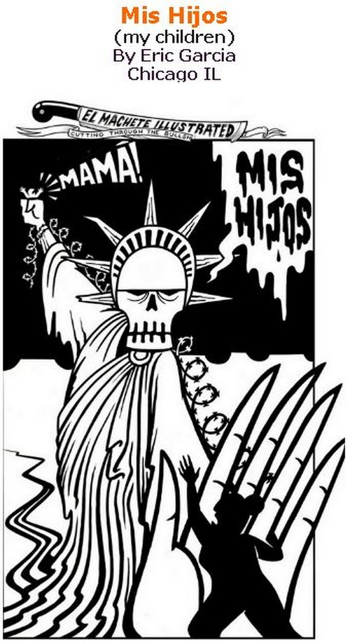 BlackCommentator.com June 14, 2018 - Issue 746: Mis Hijos (my children) - Political Cartoon By Eric Garcia, Chicago IL
