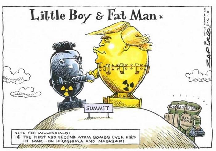 BlackCommentator.com June 21, 2018 - Issue 747: Little Boy and Fat Man - Political Cartoon By Zapiro, South Africa