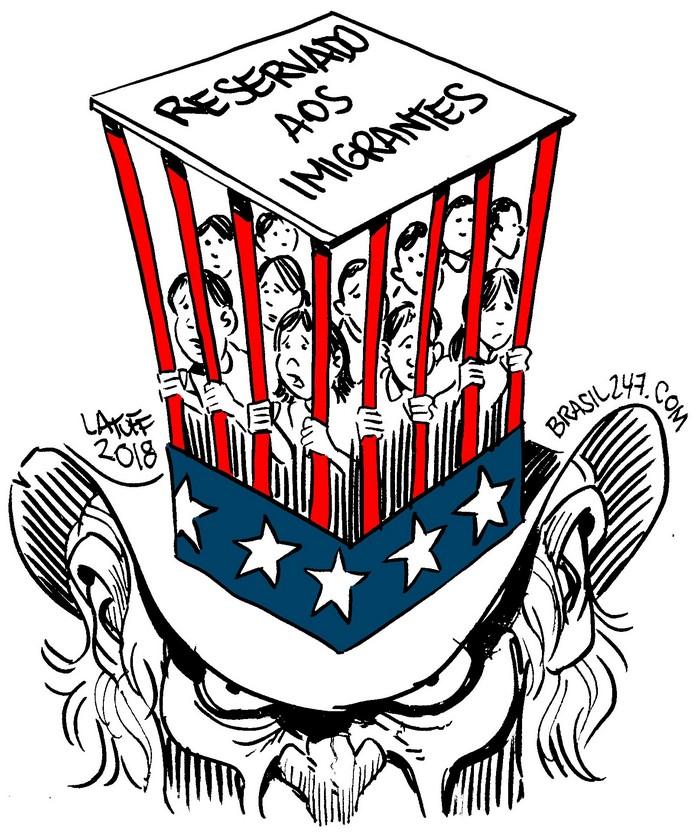 BlackCommentator.com June 28, 2018 - Issue 748: Welcome to America - Political Cartoon By Carlos Latuff, Rio de Janeiro Brazil