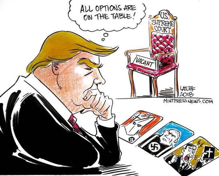 BlackCommentator.com July 05, 2018 - Issue 749: Trump's SCOTUS Options - Political Cartoon By Carlos Latuff, Rio de Janeiro Brazil