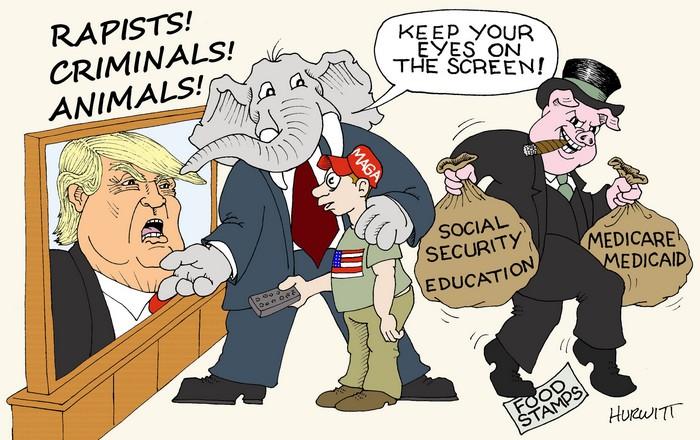 BlackCommentator.com July 12, 2018 - Issue 750: Distraction - Political Cartoon By Mark Hurwitt, Brooklyn NY