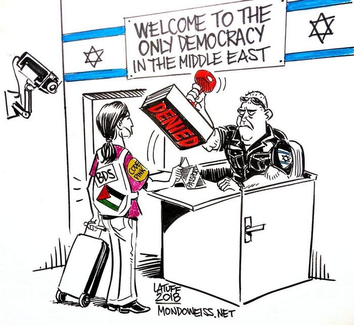 BlackCommentator.com July 12, 2018 - Issue 750: Isreal Blacklists Human Rights Supporters - Political Cartoon By Carlos Latuff, Rio de Janeiro Brazil
