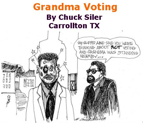 BlackCommentator.com July 19, 2018 - Issue 751: Grandma Voting - Political Cartoon By Chuck Siler, Carrollton TX