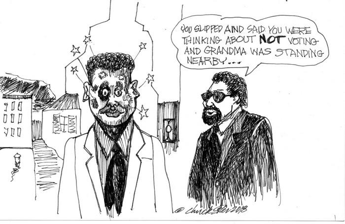 BlackCommentator.com July 19, 2018 - Issue 751: Grandma Voting - Political Cartoon By Chuck Siler, Carrollton TX
