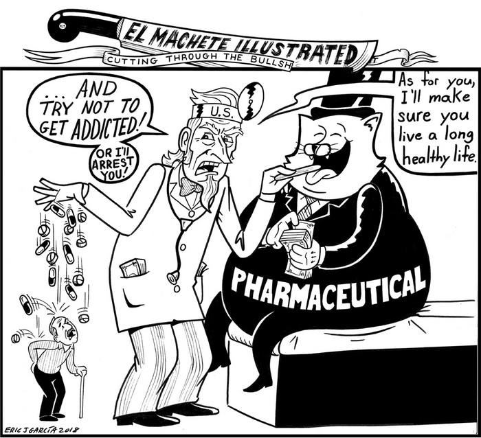 BlackCommentator.com July 26, 2018 - Issue 752: Raining Drugs - Political Cartoon By Eric Garcia, Chicago IL
