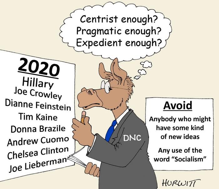 BlackCommentator.com July 26, 2018 - Issue 752: Moderate Democrats - Political Cartoon By Mark Hurwitt, Brooklyn NY