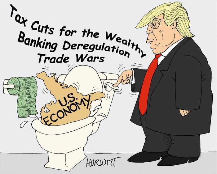 BlackCommentator.com September 06, 2018 - Issue 754: The Trump Flush - Political Cartoon By Mark Hurwitt, Brooklyn NY