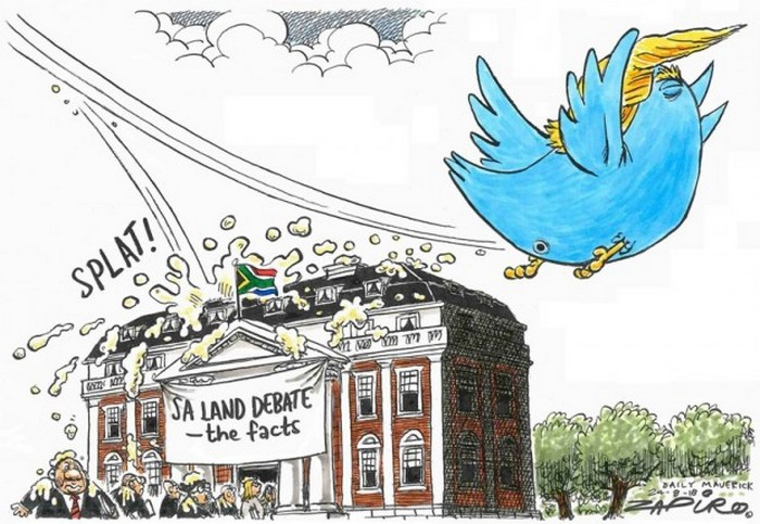 BlackCommentator.com September 06, 2018 - Issue 754: Trump's South African Land Expropriation Tweet - Political Cartoon By Zapiro, South Africa