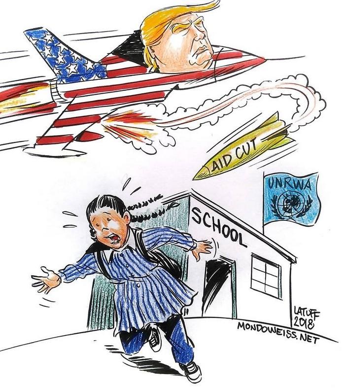 BlackCommentator.com September 13, 2018 - Issue 755: Trump Cuts Palestine Refugee Aid - Political Cartoon By Carlos Latuff, Rio de Janeiro Brazil