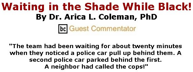 BlackCommentator.com September 13, 2018 - Issue 755: Waiting in the Shade While Black! By Dr. Arica L. Coleman, PhD, BC Guest Commentator