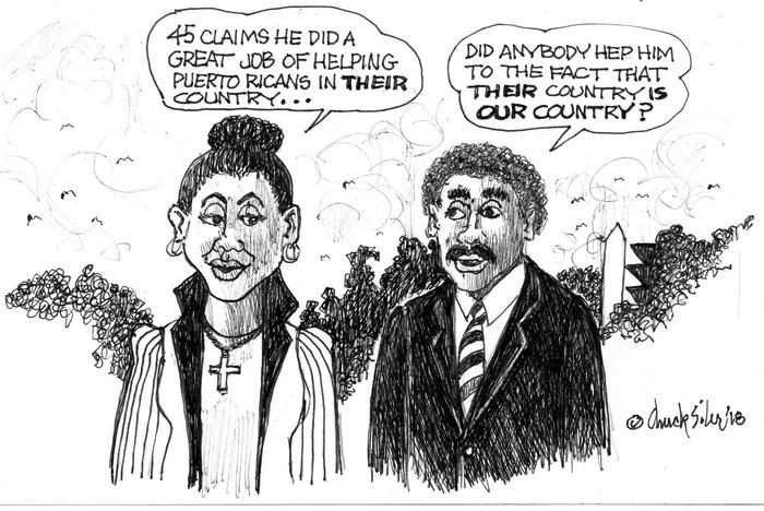 BlackCommentator.com September 20, 2018 - Issue 756: Puerto Trumpo - Political Cartoon By Chuck Siler, Carrollton TX