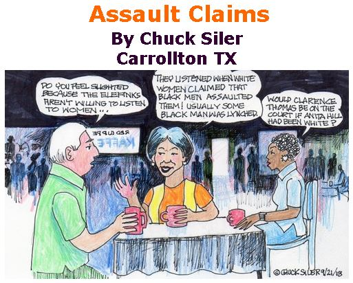 BlackCommentator.com September 27, 2018 - Issue 757: Assault Claims - Political Cartoon By Chuck Siler, Carrollton TX