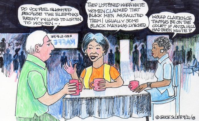 BlackCommentator.com September 27, 2018 - Issue 757: Assault Claims - Political Cartoon By Chuck Siler, Carrollton TX