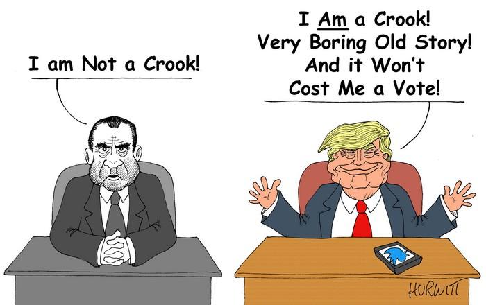BlackCommentator.com October 11, 2018 - Issue 759: Who's the Crook - Political Cartoon By Mark Hurwitt, Brooklyn NY