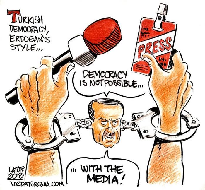 BlackCommentator.com October 11, 2018 - Issue 759: Turkish Democracy Erdogan Style - Political Cartoon By Carlos Latuff, Rio de Janeiro Brazil