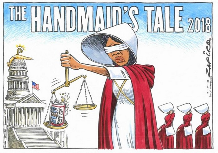 BlackCommentator.com October 18, 2018 - Issue 760: The Handmaid's Tale of Donald J Kavanaugh - Political Cartoon By Zapiro, South Africa