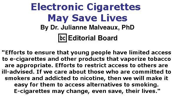 BlackCommentator.com October 25, 2018 - Issue 761: Electronic Cigarettes May Save Lives By Dr. Julianne Malveaux, PhD, BC Editorial Board