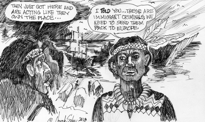 BlackCommentator.com November 01, 2018 - Issue 762: Euro Immigrants - Political Cartoon By Chuck Siler, Carrollton TX